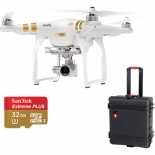 dji phantom 3 professional with 4k camera bundle with wheeled hard case and sd card