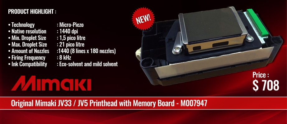 Original Mimaki JV33 / JV5 Printhead with Memory Board - M007947